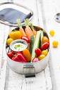 Lunch box with carrot, paprika, cucumber, tomato and chive dip - LVF06676
