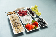 ingredients for muesli, chia seeds, curd, cranberries, grapes, blueberries, raspberries, strawberry, almonds - MAEF12525