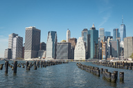 USA, New York City, skyline and breakwater - SEEF00027