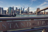 USA, New York City, skyline and Brooklyn Bridge as seen from Brooklyn Pier - SEEF00033
