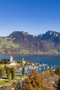 Switzerland, Canton of Bern, Spiez, Lake Thun and Spiez Castle - WDF04422