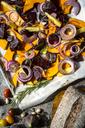 Pumpkin panzanella, bread salad of pumpkins, onions, tomatoes, grapes and figs - SARF03562
