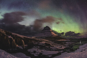 Iceland, Grundarfjordur, Mountain at night with Northern lights - WPEF00115
