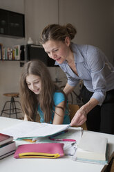 Mother helping daughter in doing homework at table - FSIF00098