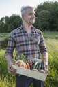 Smiling mature man carrying crate of freshly harvested vegetables at garden - FSIF00173