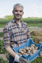 Portrait of confident man carrying crate of harvested potatoes at community garden - FSIF00185