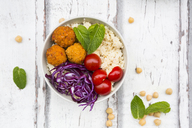 Buddha bowl of sweet potato balls, Couscous, Hummus and vegetables - LVF06690