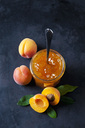 Glass of apricots jam and apricots on dark background - CSF28914