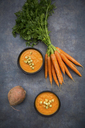 Two bowls of sweet potato carrot soup with croutons - LVF06692