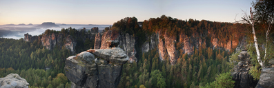 Morning shot of the Bastei, Elbe Sandstone Mountains, Saxon Switzerland, Germany - FSIF00353