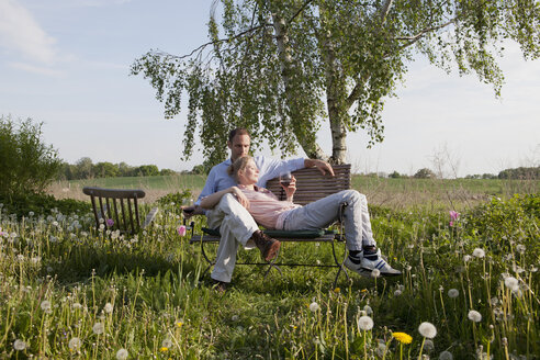 A couple enjoying sunshine and wine on a bench in their backyard - FSIF00434
