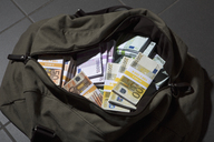 A bag full of large billed Euro banknotes - FSIF00548