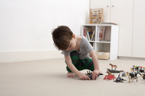 A little boy playing with some toy animal figurines on the floor of his bedroom - FSIF00551