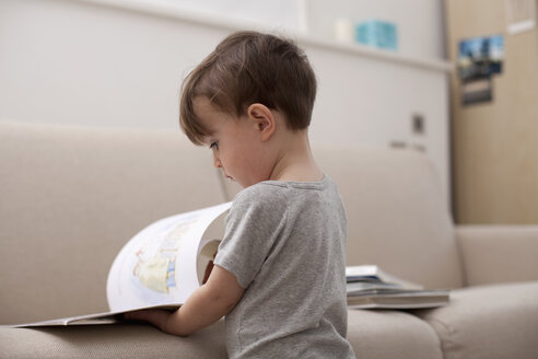 A young boy looking at a picture book - FSIF00557