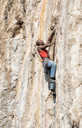Greece, Kalymnos, climber in rock wall - ALRF00913