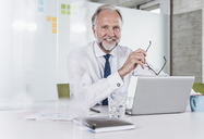 Portrait of smiling mature businessman sitting at desk in office with laptop - UUF12729