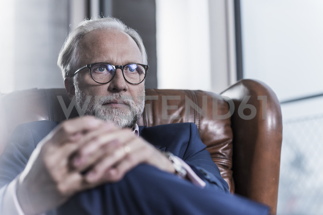 Portrait of mature businessman sitting in leather armchair - UUF12819