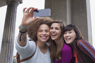 Low angle view of smiling young female friends taking selfie - FSIF01092