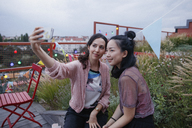 Smiling women taking selfie with smart phone on patio - FSIF01182