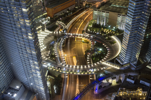 High angle view of illuminated highway amidst city buildings at night, Las Vegas, Nevada, USA - FSIF01300