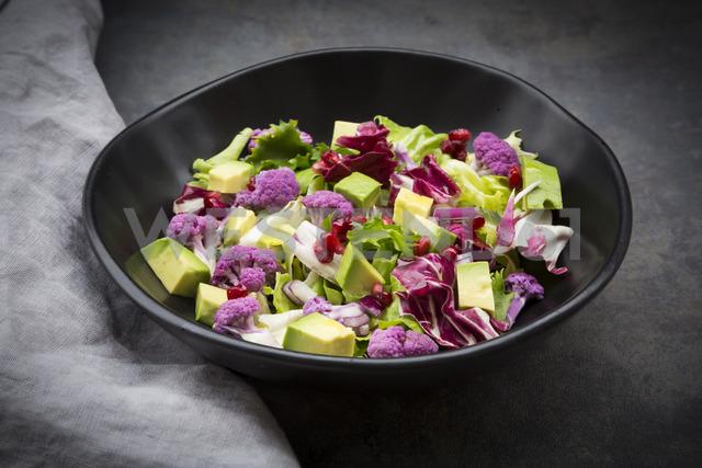 Mixed salad, purple cauliflower, avocado and pomegranate seeds - LVF06699