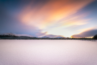 United Kingdom, Scotland, Highlands, Cairngorms National Park, Loch Morlich, snow covered, sunset - SMAF00931