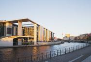 Germany, Berlin, Regierungsviertel, Marie-Elisabeth-Lueders-Building at Spree river, Berlin TV Tower in background - GWF05436