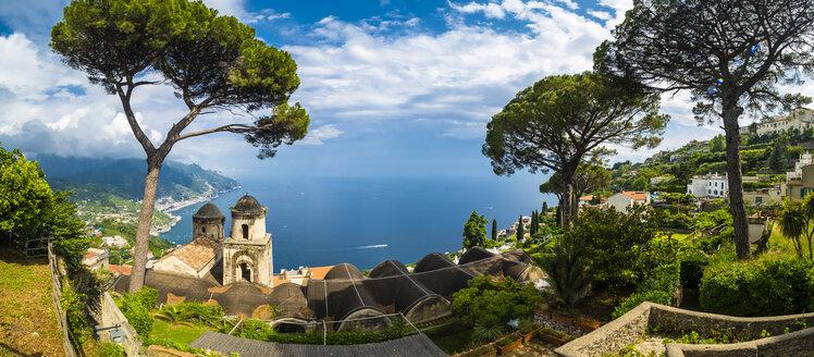 Italy, Campania, Amalfi coast, Ravello, View of coast and sea with pine and church Chiesa dell'Annunziata - AMF05660