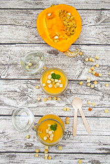 Pumpkin soup with croutons, garnished with parsley in jar - LVF06702