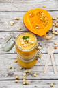 Pumpkin soup with croutons, garnished with parsley in jar - LVF06705