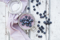 Overnight oats  with blueberries in jar - LVF06714