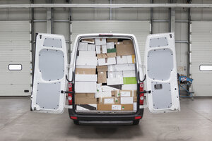 Boxes loaded in van at factory - FSIF01459