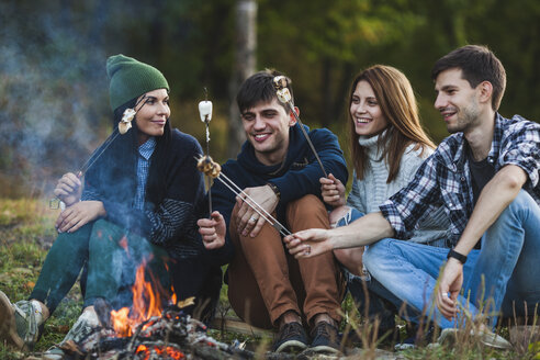 Smiling friends roasting marshmallows in forest - FSIF01525