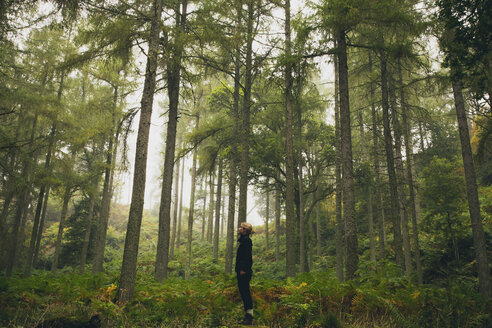 Side view of woman standing in forest - FSIF01537