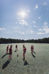 High angle view of team playing soccer on field during sunny day - FSIF01738