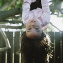 Girl hanging upside down from a tree - FSIF02392
