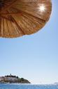 Croatia, Dalmatia, Primosten, Adria, beach umbrella - WWF04154