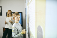 Student in class at interactive whiteboard with teacher in background - ZEDF01198