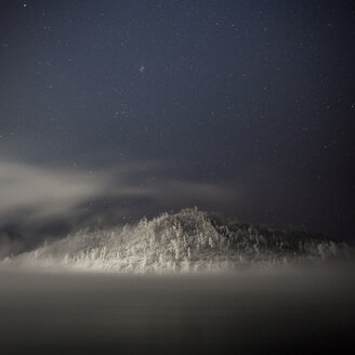 Russia, Amur Oblast, Bureya River in winter by night - VPIF00319