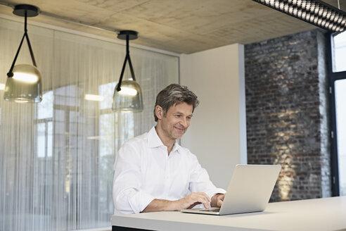 Smiling businessman using laptop in modern office - PDF01446