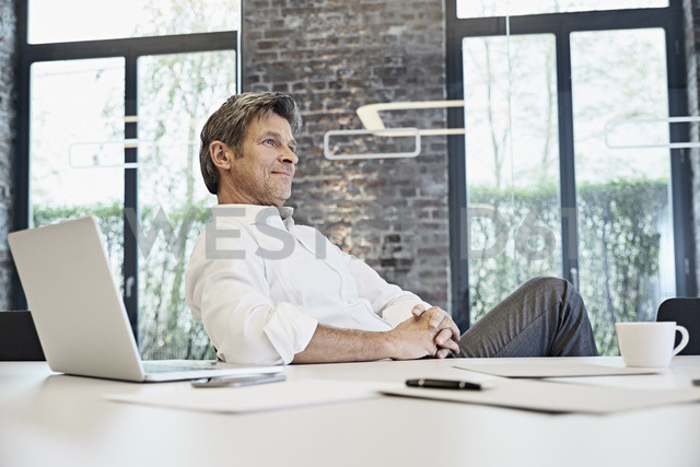 Mature businessman with laptop in modern office - PDF01503