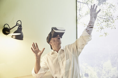Excited businessman wearing VR glasses - PDF01539