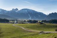 Germany, Bavaria, Allgaeu, East Allgaeu, Chruch St. Moritz in Zell, Mountains Brentenjoch and Aggenstein - LBF01771