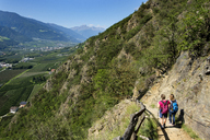 Italy, South Tyrol, Vinschgau, Naturns, Sonnenberg Panorama Trail, female hikers - LBF01780