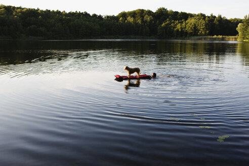 A man pushing a dog on a pool raft in a lake - FSIF02716