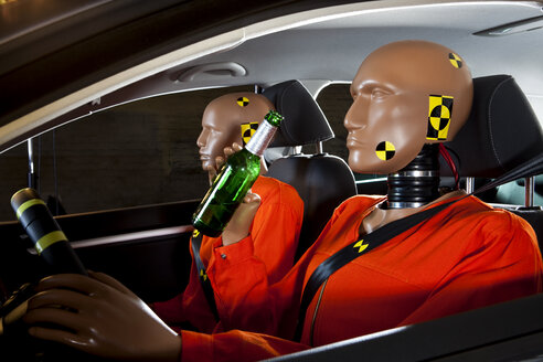 A crash test dummy drinking a beer while driving with a crash test dummy passenger - FSIF03012