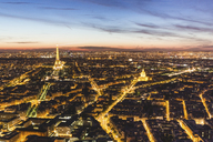 France, Ile-de-France, Paris, panoramic aerial view of the city at dusk - WPEF00120