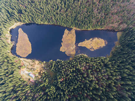 Germany, Bavaria, Lower Bavaria, Bavarian Forest, Aerial view of Kleiner Arbersee with floating islands - FOF09826