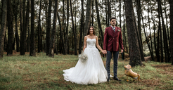 Happy bride and groom standing in forest with funny dog-shaped balloon - DAPF00890