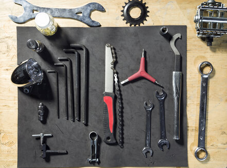 Overhead view of bicycle tool set - JSRF00024